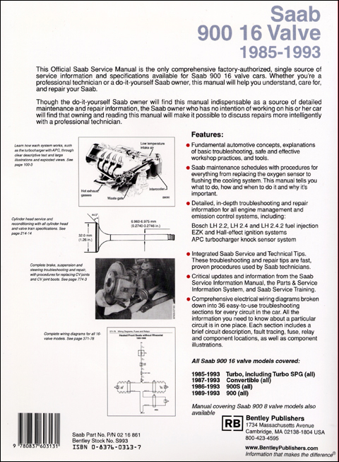 Saab 900 16 Valve Official Service Manual: 1985-1993 back cover